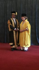 Shirley Collins with Sanjeev Bhaskar, Chancellor of the University of Sussex. Photo by Polly Marshall.